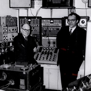 Otto Luening and Vladimir Ussachevsky in the Electronic Music Center in the 1950's