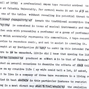 Vladimir Ussachevsky's typescript notes on the arrival of the Ampex 400 tape recorder.